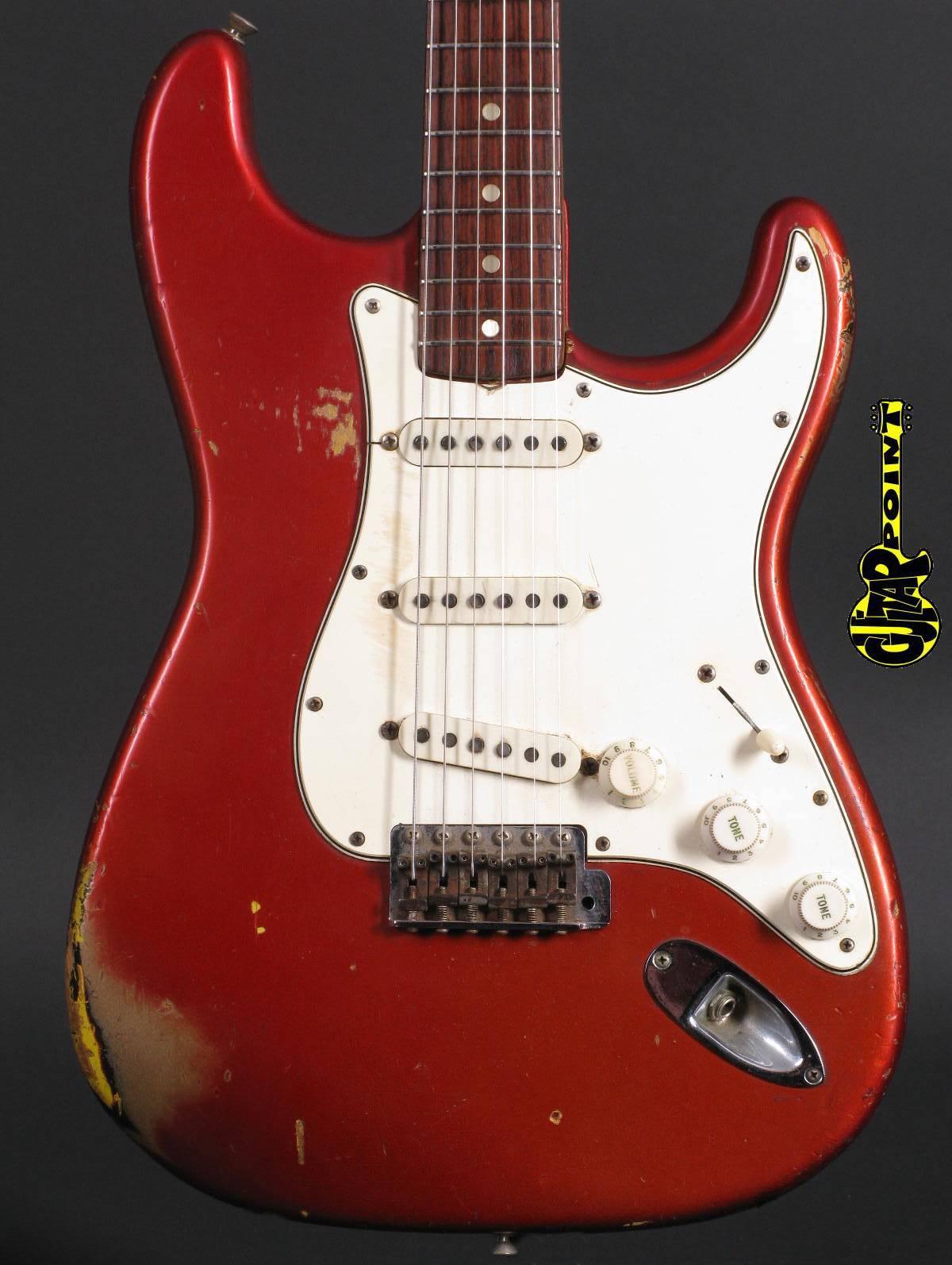 1966 Fender Stratocaster - Candy Apple Red over 3t-Sunburst